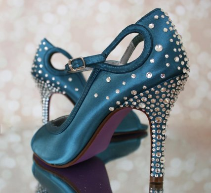 teal jeweled wedding shoes