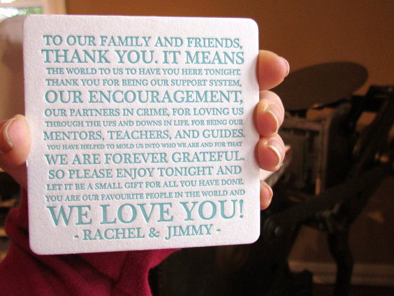 thank you to guests wedding coaster