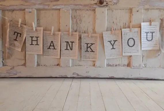 thank you typewriter wedding banner