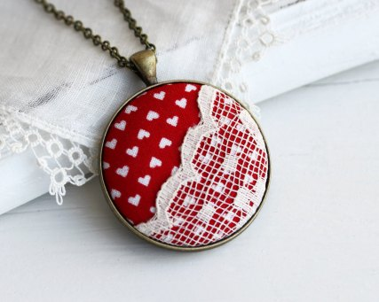 lace pendant necklace with red fabric and white hearts by the whirlwind   via emmalinebride.com   valentine jewelry etsy