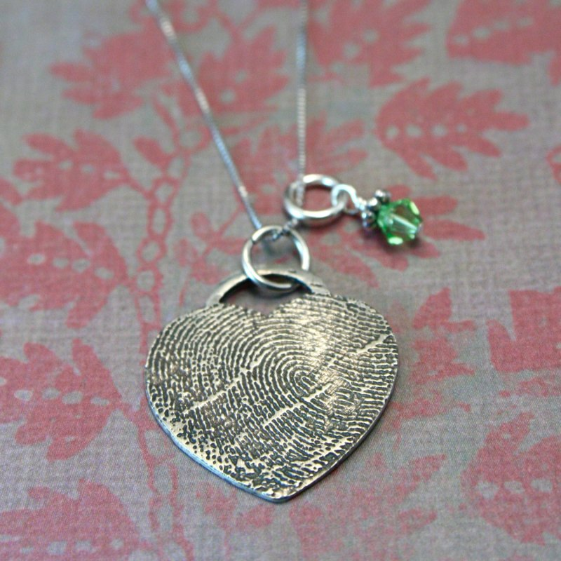 thumbprint heart necklace