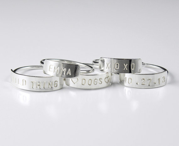 Tiny Personalized Rings for Bridesmaids — #HANDMADEADAY