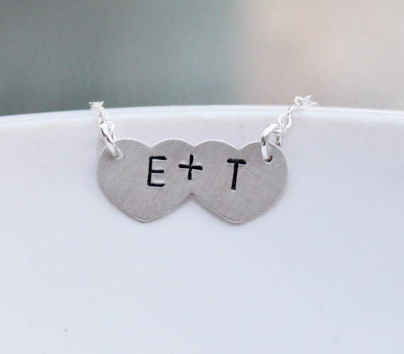 Engagement Gift Ideas (by The Silver Wren) - together initial necklace #wedding #engagement