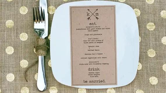 typewriter wedding menu