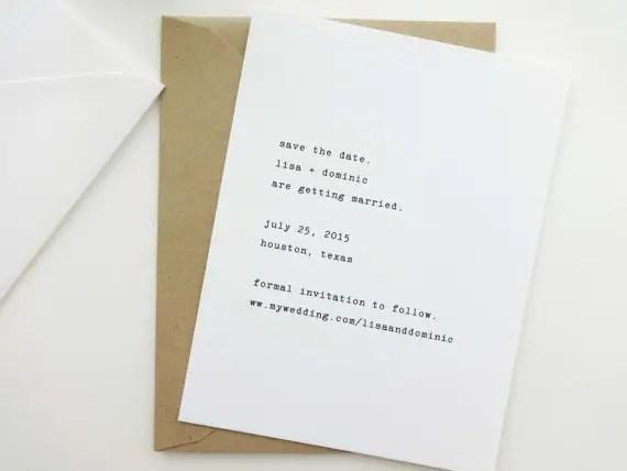 typewriter wedding save the date