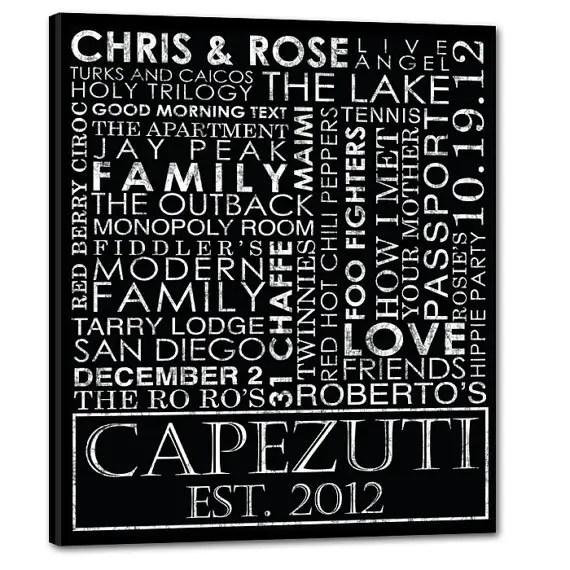reusable wedding decorations - typography custom wedding canvas gift