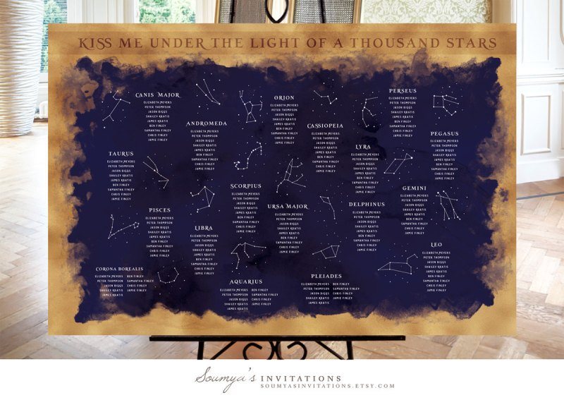 under the stars seating chart by soumyasinvitations | via Starry Night Weddings http://emmalinebride.com/vintage/starry-night-weddings-ideas/