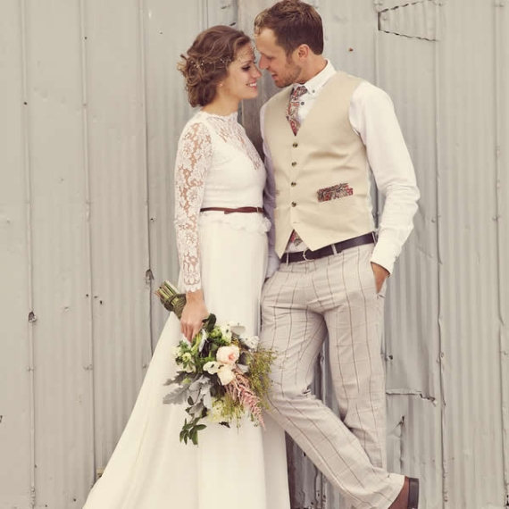 What the Groom Wears for Barn Wedding