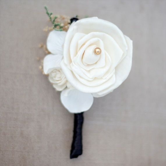 white sola flower boutonniere wrapped in black satin ribbon | 28 Best Rustic Wedding Boutonniere Ideas