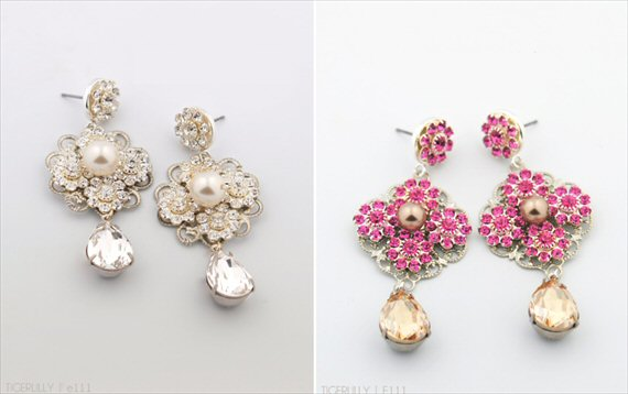 Vintage Drop Earrings (Sabelle by Tigerlilly Jewelry) #handmade #wedding #jewelry
