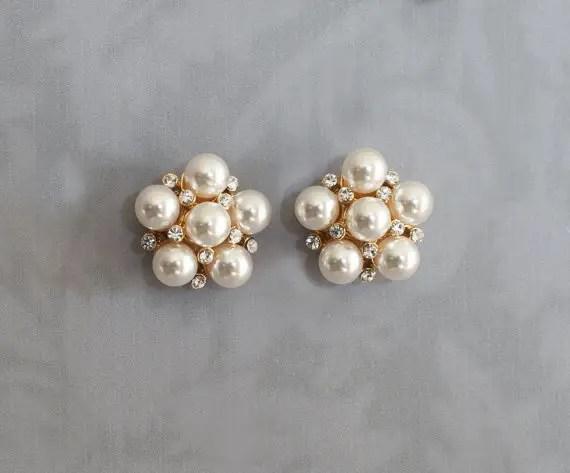 vintage inspired bridal earrings pearl cluster