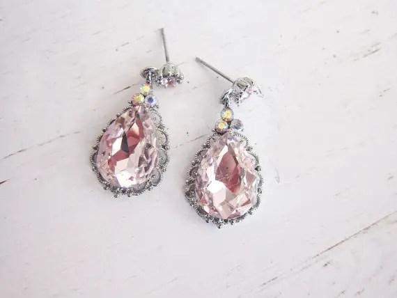 vintage bridal earrings pink cz drop earrings