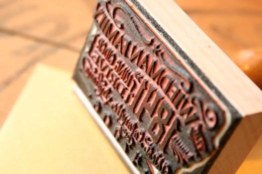 vintage return address stamp up close