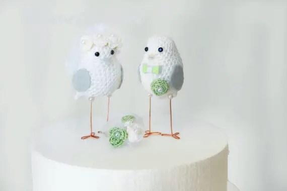 wedding cake topper birds by Mave Crochet | via 5 New Handmade Wedding Finds - Emmaline Bride http://emmalinebride.com/marketplace/