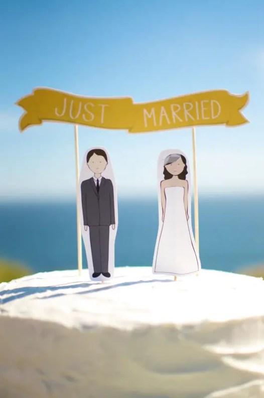 wedding cake topper custom phrases and banner