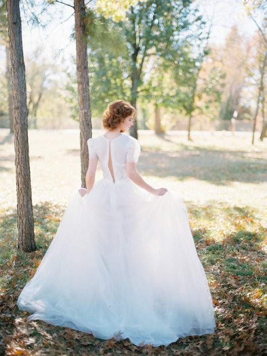 wedding gown with short lace sleeves - right