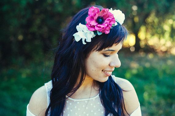 Bridal Hair Crowns - hot pink flower