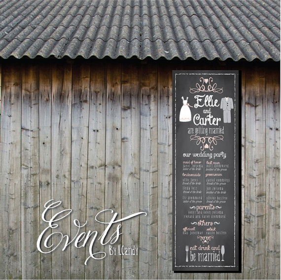 14 Chalkboard Wedding Ideas - wedding program banner chalkboard (by events by icandy)