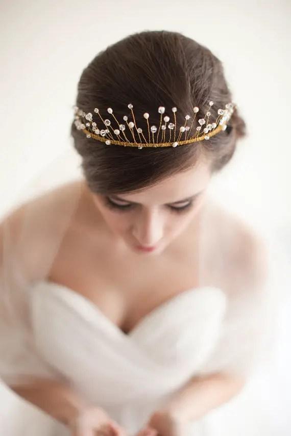 How to Rock a No Veil Wedding Look (via EmmalineBride.com) - tiara by Melinda Rose Design, photo by Atlas and Elia