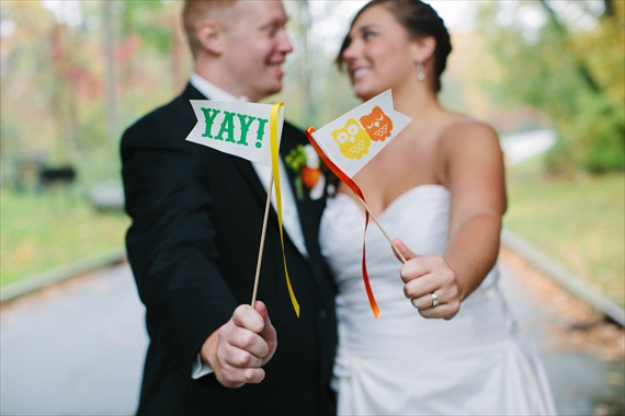 DIY Fall Wedding - Photo by Noelle Ann Photography - #diy #fall #wedding #flags #ceremony #grand-exit #sparkvites