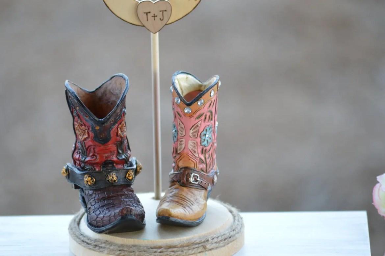 Boot Wedding Cake Topper | via emmalinebride.com