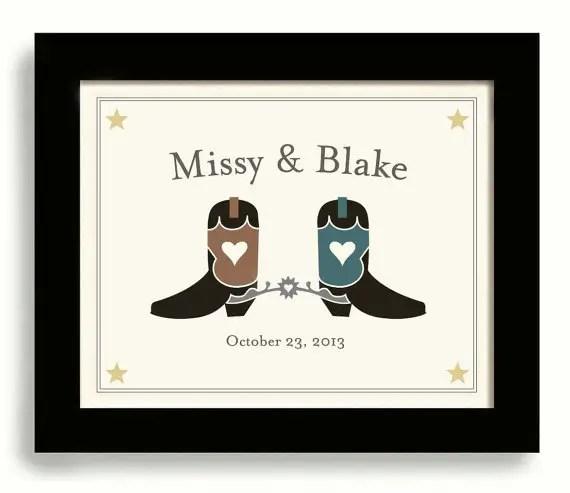 western wedding print