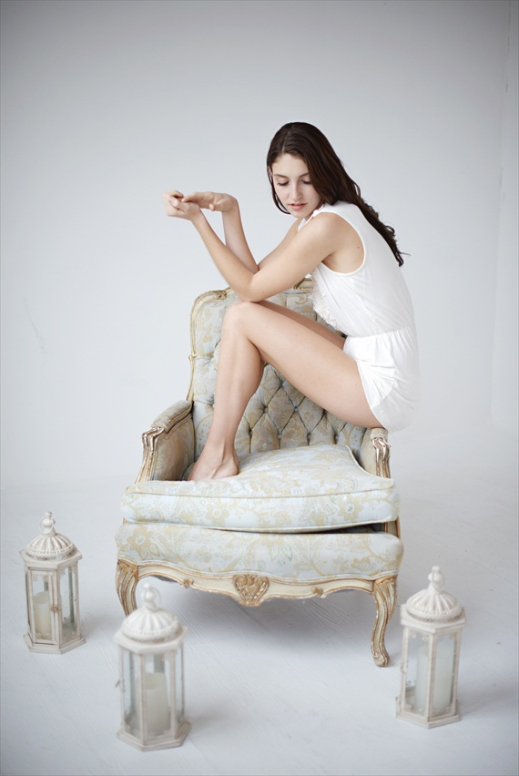white bridal romper - bridal lingerie (by Tessa Kim)
