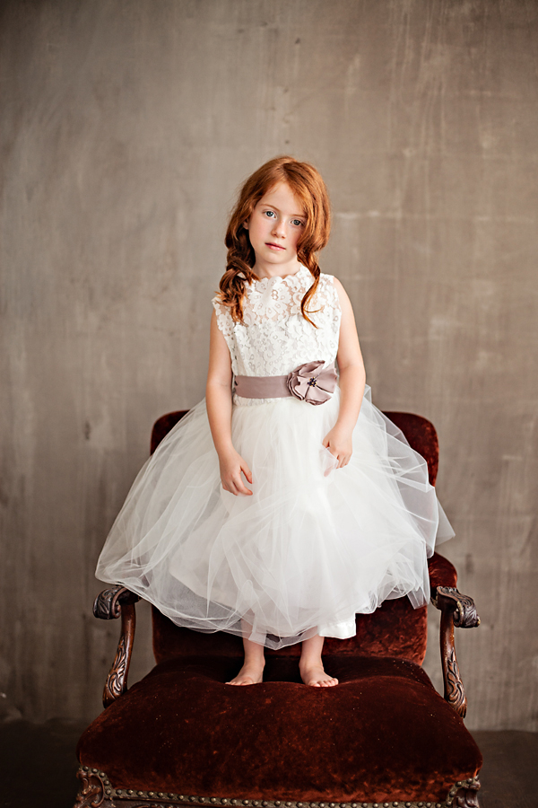 white lace flower girl dress with purple sash