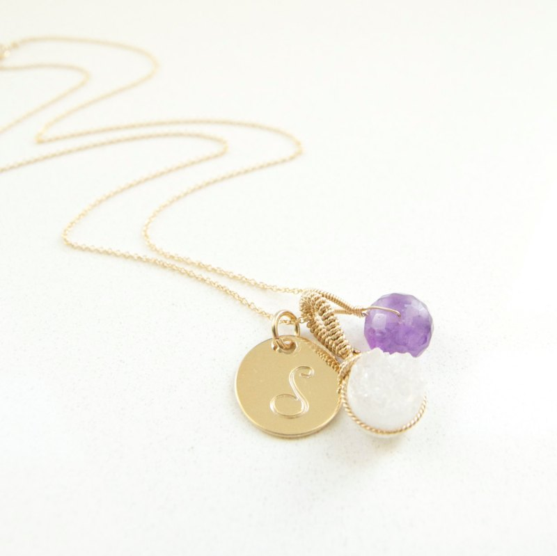 white quartz and amethyst birthstone february with initial necklace | birthstone jewelry gifts | http://emmalinebride.com/gifts/birthstone-jewelry-gifts/
