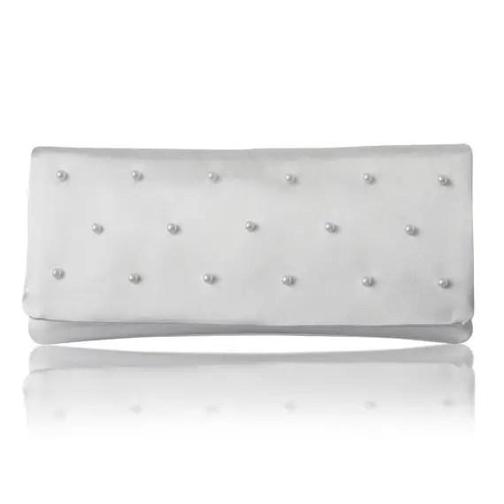 white satin pearl bridal clutch purse