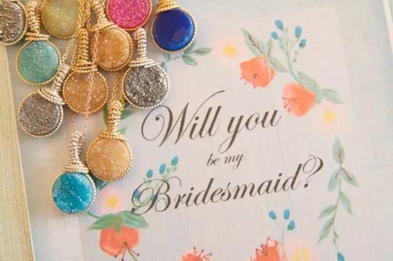 will you be my bridesmaid druzy necklace | druzy bridesmaid jewelry