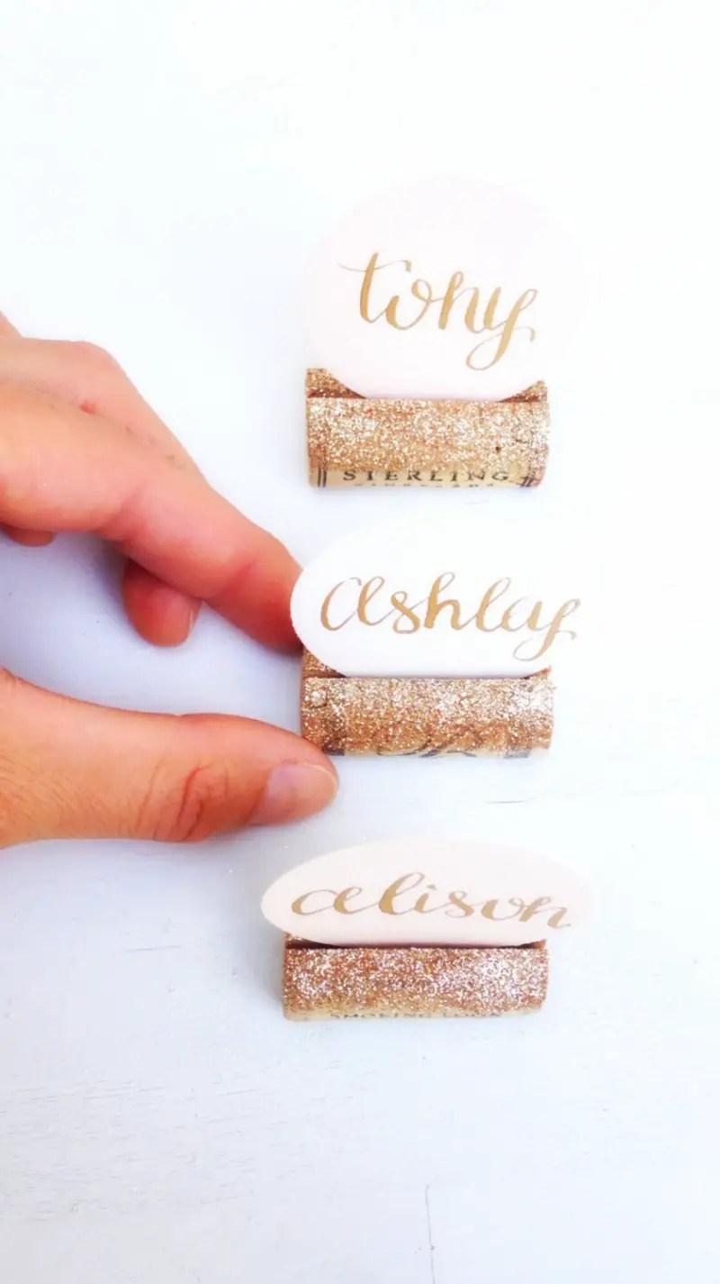 wine cork place cards by karas vineyard wedding