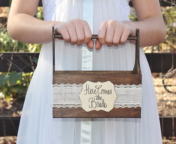 here comes the bride rustic flower girl baskets