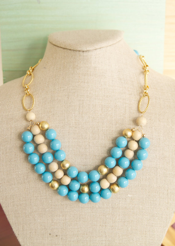 wood bead statement necklace (via How to Wear a Bib Necklace)