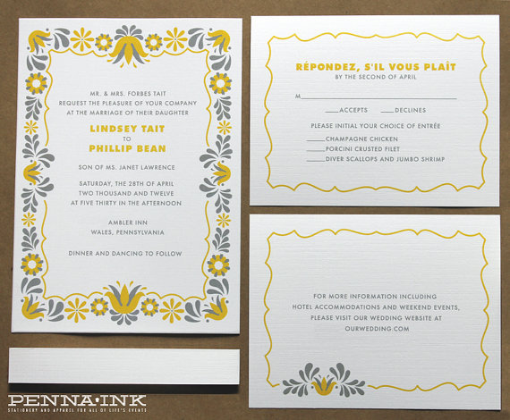 yellow and gray invitation suite - 5 Creative Save the Date Ideas