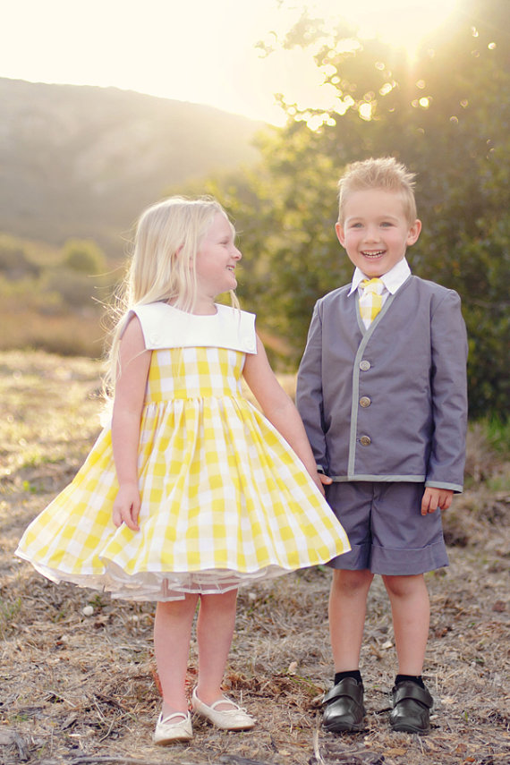 yellow plaid - spring flower girl dresses #wedding
