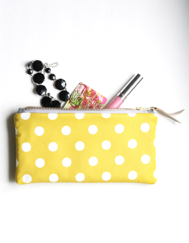 yellow bridesmaid clutch - polka dot clutch purse