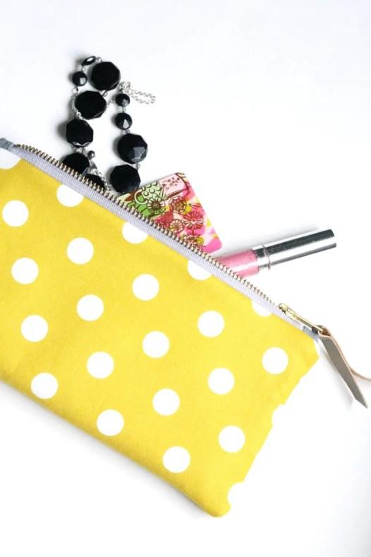 yellow polka dot clutch zipper purse