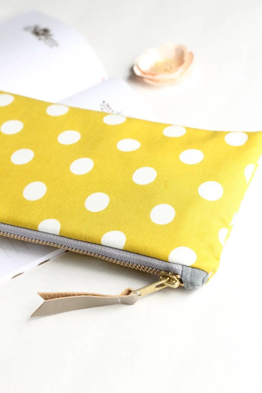 yellow bridesmaid clutch - polka dot zipper clutch