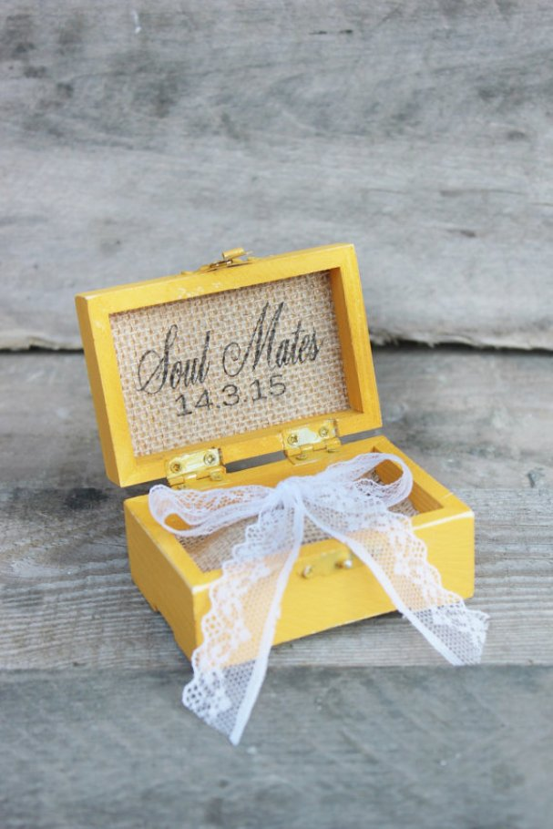 yellow soul mates ring box | via Rustic Ring Pillows http://emmalinebride.com/ceremony/rustic-ring-pillows/