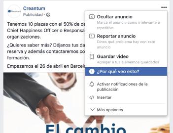 Por qué veo un anuncio en Facebook