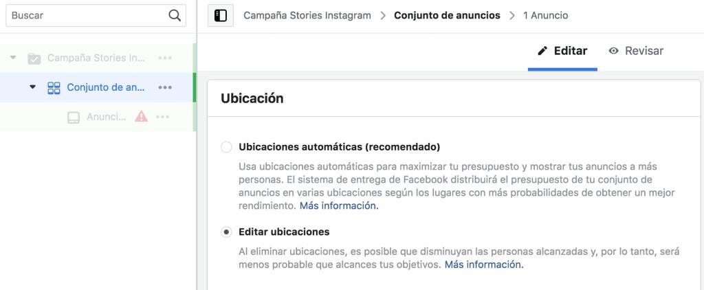 Editar ubicaciones Facebook Ads