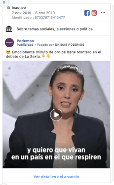 Podemos debate sexta Facebook Ads