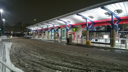 Pudsey Bus Station in the snow