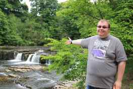 Cameron at Aysgarth Falls