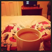 Hot chocolate in bed, hotel room to myself. #lovely
