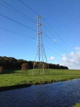 Pylon along Apperley Bridge Canal