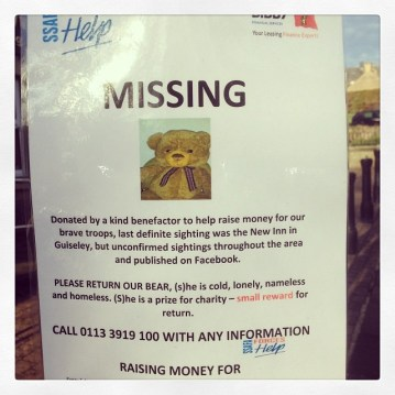 Who would steal a teddy bear from charity? #guiseley #missing