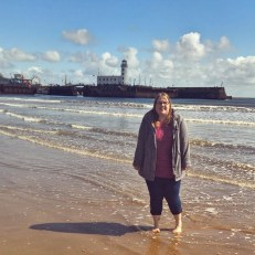 Taking a dip in the sea at Scarborough