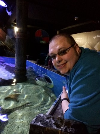 Cameron and the Ray Tank at the Sea Life Centre in Scarborough